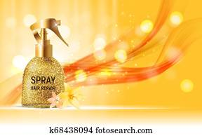 Design Hair Repair Spray Cosmetics Product Template for Ads or Magazine Background. 3D Realistic Iillustration