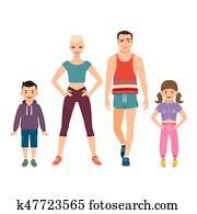 glückliche familie, in, sport, stil, kleidung