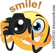 Smiley Emoticon Photographer Holding a Digital Camera