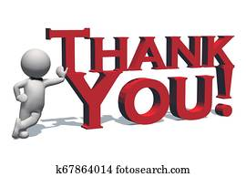 Thank You - 3D text in red and 3D people with shadow on the floor