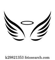 vektor, skizze, von, engelsflügel