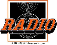 Vintage Radio Tower Sign Clip Art