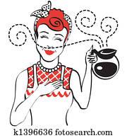 Vintage Retro 1950s Mom Coffee Pot