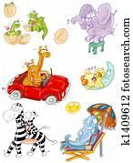 animals, giraffe, zebra, dolphin