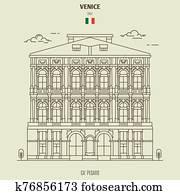 Ca' Pesaro Palace in Venice, Italy. Landmark icon