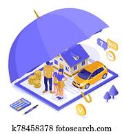 Family Car Home Insurance Isometric