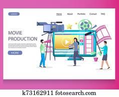 filmproduktion, vektor, website, landung, seite, design, schablone