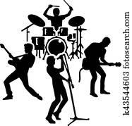 rockgruppe, silhouette