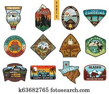 Vintage hand drawn travel badges set. Camping labels concepts. Mountain expedition logo designs. Outdoor hike emblems. Camp logotypes collection. Stock patches isolated on white background.