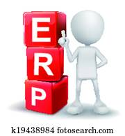 3d illustration of person with word ERP cubes