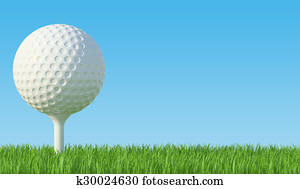 Golf ball on the green lawn