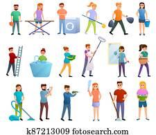 Housekeeping icons set, cartoon style