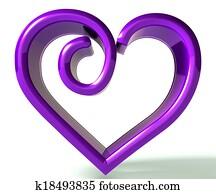 Purple swirly heart 3d image