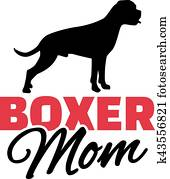 Boxer Mom with dog silhouette