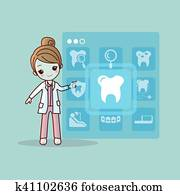 cartoon dentist doctor touch icon