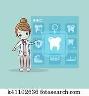 karikatur, zahnarzt, doktor, berühren, symbol