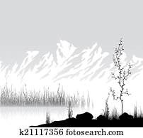 Landscape with mountains near lake