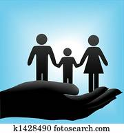 Mother father child family in cuppe