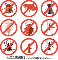 Set of pest insect icons