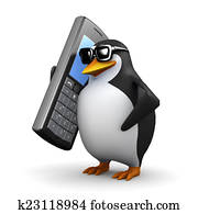 3d Penguin chatting on a mobile phone
