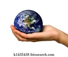 Hand holding World
