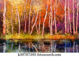 Oil painting colorful autumn landscape