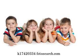 Four preschool children on the floor