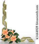 Hibiscus and Gold Ribbons Border