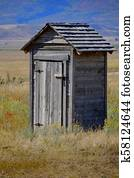 Old Outhouse in Ghost Town Countryside Abandoned Historical Area
