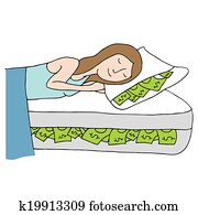 Sleeping on Bed of Cash