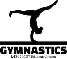 Gymnastics word with gymnast at balance beam