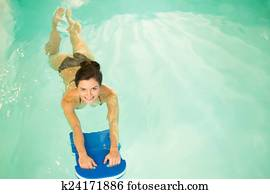 Woman on water aerobics workout