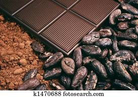 Bar of chocolate, cocoa beans