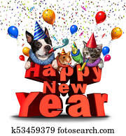 Happy New Year Cute Animals
