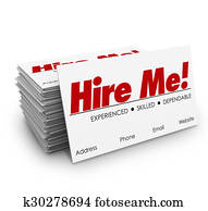 Hire Me Business Cards Apply Job Interview Resume Sell Yourself