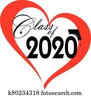 klasse, von, 2020, innenseite, rotes herz