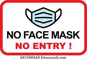 No facemask No entry sign. Information warning sign about quarantine measures in public places. Restriction and caution COVID-19.