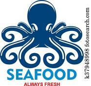 blau, pazifik, oktopus, symbol, für, meeresfrüchte, menükarte, design