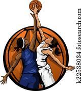 frauen, basketballsprung, kugel, farbe