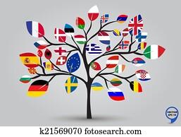 Leaf flags of europe in tree design