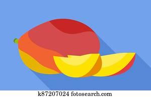 Mango pieces icon, flat style