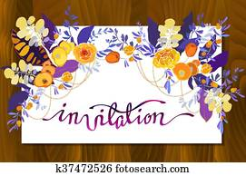 Calligraphy floral card