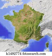 France, shaded relief map