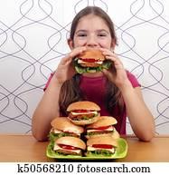 Colección de imágen - hambriento, niña, comer, grande