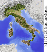 Italy, shaded relief map
