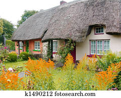 Typical thatched roof cottage in Ireland