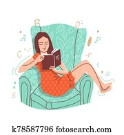 A girl sits on an armchair and reads a book.