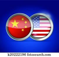 china and usa illustration design