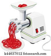 elektrisch, fleischwolf, mit, mincemeat., küche ausrüstungen