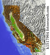 California, shaded relief map